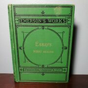 1878 Emersonand039s Works First Series Essays Riverside Press W/ Embossed Gilt Cover