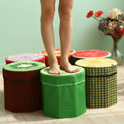 3d Fruit Print Foot Stool Seat Folding Ottoman Pouffe Toy Storage Box Container