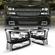 For 2003-2006 Chevy Silverado Black Housing Clear Side Headlights/lamp Assembly