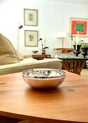 Six Inch Richard Meier Silver Plate Bowl With Grid, Swid Powell, Made In Italy