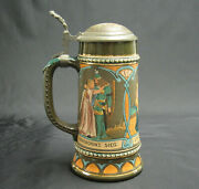 An Early German S P Gerz Etched Lidded Stein 1421 W/lohengrinand039s Romatic Opera