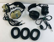 Lot Of 2 Headsets Softcomm C-60 Silver Edition And Flightcom Dual Plug Vintage