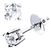 Beautiful Diamond Claw Set Earrings With Screw Back 18k White Gold 0.70 Ct