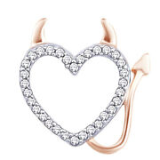 1/12 Cts Diamond Accent 14 Kt White Gold Angel Halo Winged Heart Pendant
