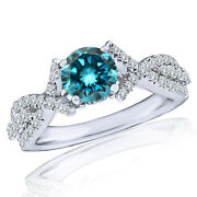 14k White Gold 1ct Blue Round Diamond Solitaire Halo Fancy Bridal Ring