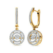 1/2 Ct Natural Diamond Double Frame Drop Earrings In 10k White Gold