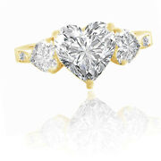 4.54 Ct Heart Cut 3 Stone Round Vintage Engagement Ring Solid 14k Yellow Gold