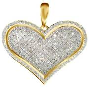 Love Heart Pave Diamond Pendant Charm For Necklace 1 Ct In 10k Yellow Gold -igi-