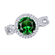 1.5 Ct Round Cut Emerald And Natural Diamond 10k White Gold Halo Engagement Ring