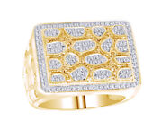 1.00 Ct Men's 10k Yellow Gold Genuine Diamond Accent Nugget Pinky Ring