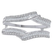 1/2 Ct Wrap Guard Solitaire Enhancer Baguette And Diamonds Ring 10k White Gold