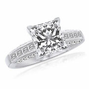 2.50 Ct Square Princess Cut Simulated Engagement Ring 14k White Gold