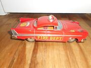 Vintage Tin Friction Japan Yoneya Sy Fire Department Chief Toy Car