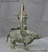 Old China Dynasty Bronze Ware Cattle Ox Oil Lamp Oil-lamps Light Palace Lantern