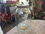 Vtg Retro Rare Ball Gallon Glass Canister Jar With Off White Metal Lid
