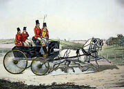 A Hunting Phaeton - Vintage Color Engraving - 1800and039s Top Hat Hunting
