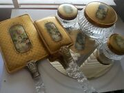Stunning Vintage Glass And Gold Dresser Set W/ Mirrors, Jars, Brush Etc Must See