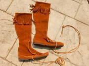 Minnetonka Size 7 Tall Fringe Boots Suede Leather Knee High Moccasin Brown 9