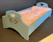 Vintage Kirsten American Girl Pleasant Co. Blue Bed With Mattress 1997