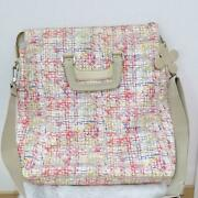 2way Tote Bag Tweed Pattern Four-leaf Clover Size W13.8xh15.7xd3.1 In.