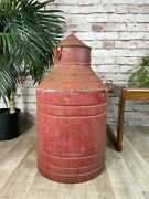 Vintage Industrial Salvage Red Metal Oil Can Drum Container Automobiles