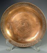 Levant Copper And Pewter Shallow Bowl Incised Border Decor Signed Base Ca. 1900 C