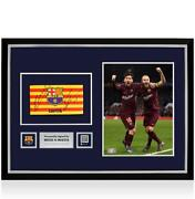 Lionel Messi And Andres Iniesta Official Fc Barcelona Signed And Framed Captainand039s