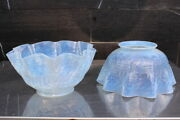 Scarce Pair Antique Gas Oil Or Electric Lamp Glass Shade Opalescent Ruffle Edge