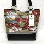 Country Amish Quilts Barns Purse Bag With Vinyl Bottom Handcreated By Jenny