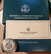 1996 S Proof National Community Service Silver One Dollar Us Mint Coin Box + Coa