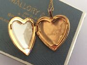 Beautiful Antique 9ct Bonded Gold Engraved Mum Gift Photo Heart Locket Necklace