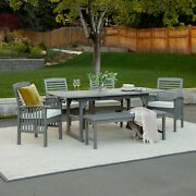 6 Pc Traditional Outdoor Dining Set Patio Garden Furniture Sets Grey Wash Finish