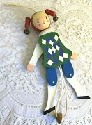 Vtg.sevi Italy Wooden Jointed/movable 14 Hanging Pull String Jester Marionette