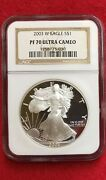 2003 W American Silver Proof Eagle Ngc Pf 70 Ultra Cameo Brown Label Ships Free