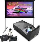 Elitescreen Ultra Short Throw Projector With 58 Outdoor Screen And Stand