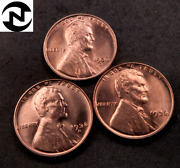 1936+1936-d+1936-s Lincoln Wheat Penny Cent Set-lot // Gem Bu Red // 3 Coins
