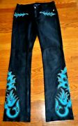 Blue Label Collection Embroidered Black Leather Western Pants Us 2