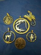 5 Hand Cut Coins Pendants Jewelry New Never Worn Great Deal Dont Miss Out.