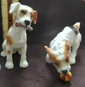 Royal Doulton Jack Russell Terriers Set Of 2 Dog W Bone And Dog W Ball Vintage