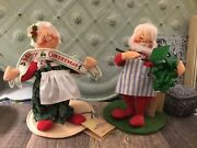 """Vintage 1990's Annalee Mr And Mrs Santa Claus W/stands Christmas Dolls 8.5"""" Tags"""