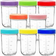 Youngever Glass Baby Food Storage 8 Ounce Baby Food Glass Containers With Air...