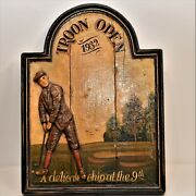 Antique Solid Wood Carved Hand Painted Plank Royal Troon Open 3d Golf Plaque