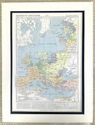 1895 Antique Map Of Europe Spread Of Christianity Religion 14th Century French