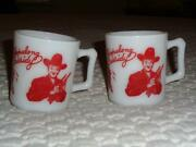 Two Vintage Hopalong Cassidy Mugs Cups Red And White Cowboys Western Theme