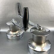 Pair Of Barlow Australia 24 Chrome Winches And Crank Handles 2 Speed Sailing Boat