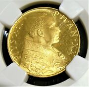 Vatican City Pius Xii Gold 100 Lire Anno Xx 1958 Ms66 Ngc.