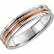 14k White Rose And White Gold 5mm Grooved Wedding Band