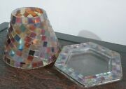 Partylite Global Fusion Mosaic Decorative Shade And Tray Candle Holder Retired