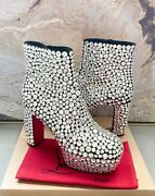 Christian Louboutin Roxxxy Strass Veau Velours Crystal Embellished Ankle Boots