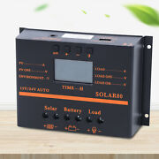 80a Pwm Solar Panel Battery Charge Controller 12v/24v Lcd Regulator Auto Usb Us